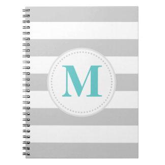 Gray Wide Stripe Spiral Notebook