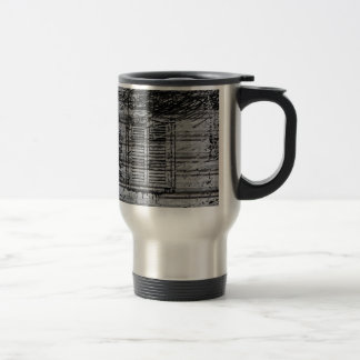 gray windows and scribbles on metal textured backg mug