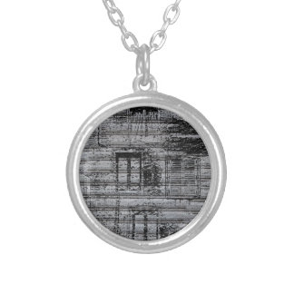 gray windows and scribbles on metal textured backg necklace