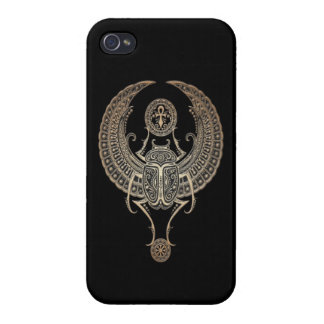 Gray Winged Egyptian Scarab Beetle with Ankh Black iPhone 4/4S Cases