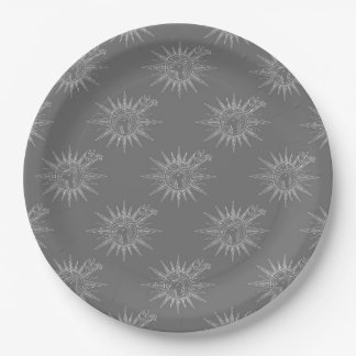 Gray Winter Holiday Reindeer Pattern Art Design 9 Inch Paper Plate