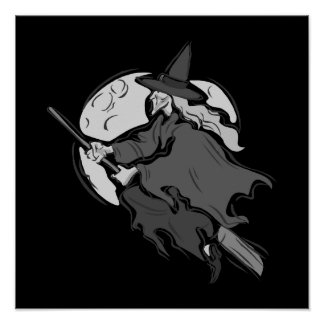 Gray witch in front of moon print