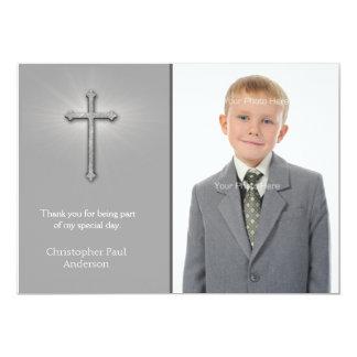 Gray with Cross, Religious Photo Card Custom Invitation