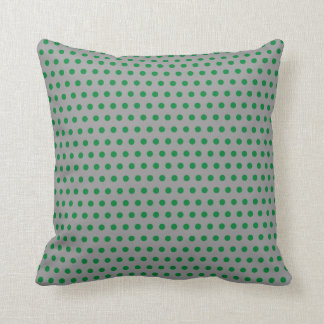 Gray with Green Polka Dots Pattern Cushion