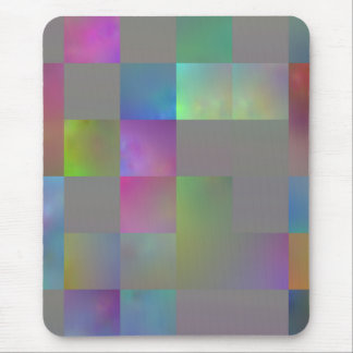 Gray with Multicolored Squares Abstract Mousepad