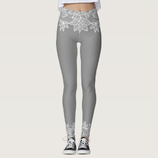 Gray with White Lace Look Spandex Leggings