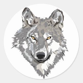 Gray Wolf Design Round Sticker