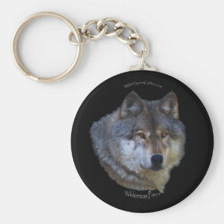 GRAY WOLF Design Wildlife Art Key-chain Basic Round Button Key Ring