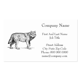 Gray Wolf Elegant Ink Drawing Pack Of Standard Business Cards