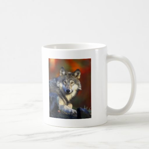 Gray Wolf, Endangered Species Digital Photography Coffee Mugs