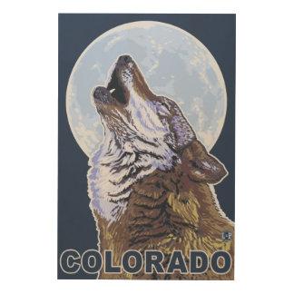 Gray Wolf HowlingColorado Wood Wall Art