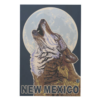Gray Wolf HowlingNew Mexico Wood Wall Decor