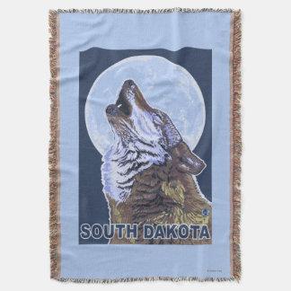 Gray Wolf HowlingSouth Dakota Throw Blanket