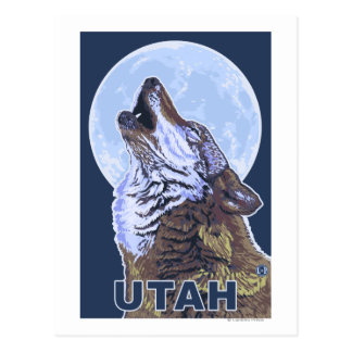 Gray Wolf HowlingUtah Postcard
