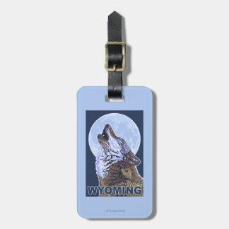 Gray Wolf HowlingWyoming Luggage Tag