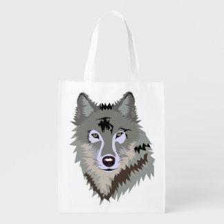 GRAY WOLF ILUSTRATION Reusable Bag