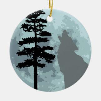 Gray Wolf Moon Christmas Ornament