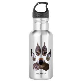 Gray Wolf Paw Predator Portrait Yellow Eyes Cool 532 Ml Water Bottle