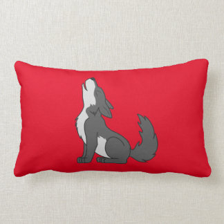 Gray Wolf Pup Howling Lumbar Cushion