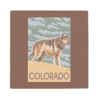 Gray Wolf StandingColorado Maple Wood Coaster