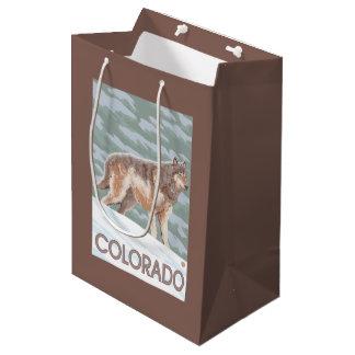 Gray Wolf StandingColorado Medium Gift Bag