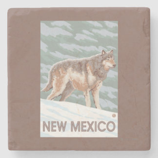 Gray Wolf StandingNew Mexico Stone Beverage Coaster