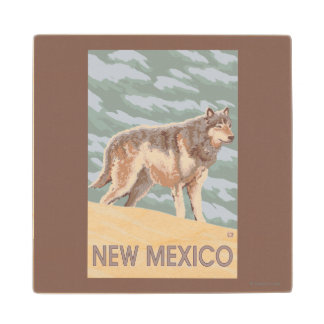 Gray Wolf StandingNew Mexico Wood Coaster
