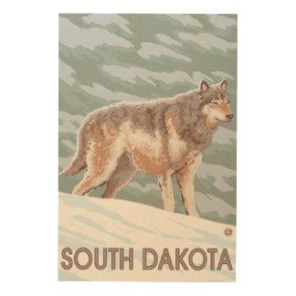 Gray Wolf StandingSouth Dakota Wood Wall Decor