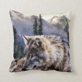 Gray Wolf Wilderness Picture Cushion