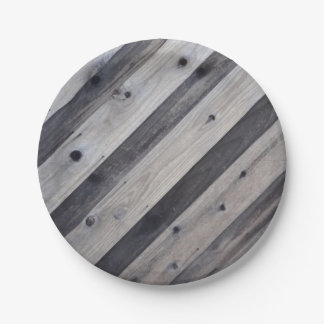 Gray Wood Fence Paper Plate