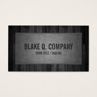 Gray Wood Grain and Suede Look Business Card