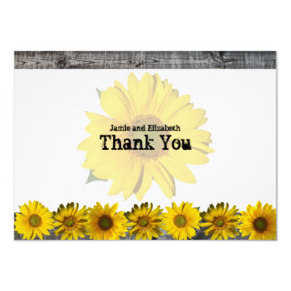 Gray Wood Yellow Sunflower Flat Thank You Notes 11 Cm X 16 Cm Invitation Card