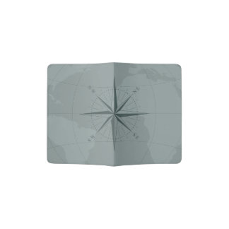 Gray World Map Custom Passport Holder