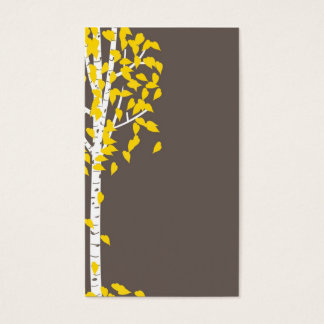 Gray Yellow Aspen Tree Business Cards