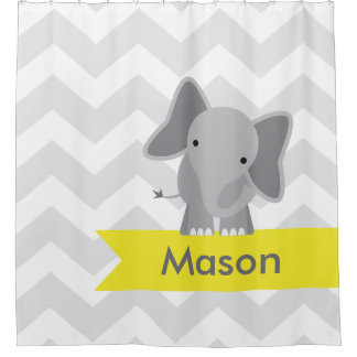 Gray Yellow Chevron Elephant Kids Personalized Shower Curtain