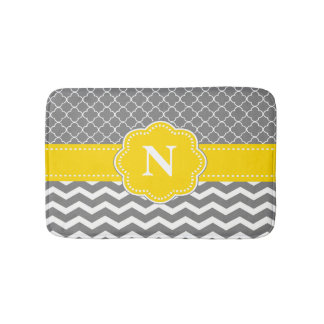 Gray Yellow Chevron Monogram Bathmat