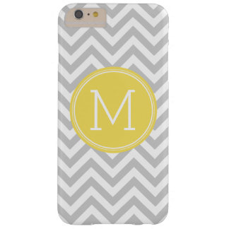 Gray Yellow Chevron Pattern Custom Monogram Barely There iPhone 6 Plus Case
