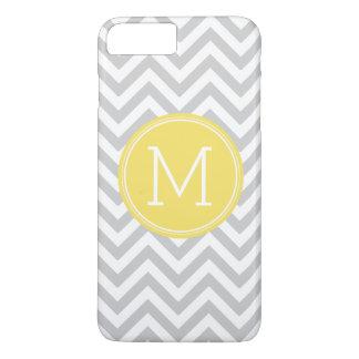 Gray Yellow Chevron Pattern Custom Monogram iPhone 7 Plus Case