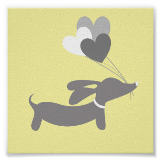 Gray & Yellow Dachshund Nursery Art with Hearts Poster