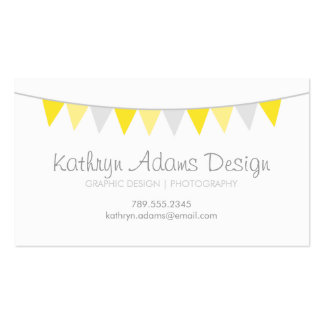 Gray Yellow Modern Bunting Business Card Template
