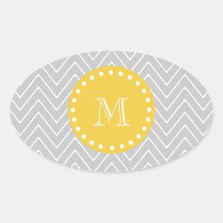 Gray Yellow Modern Chevron Custom Monogram Stickers