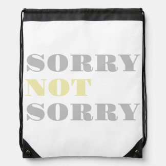 Gray Yellow Sorry Not Sorry Drawstring Backpack