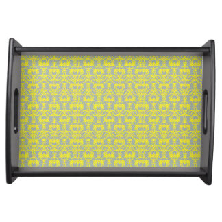 GRAY & YELLOW TRAY %PIPE% PLATE SERVING PLATTER