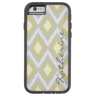 Gray & Yellow Tribal Ikat Chevron Custom Monogram Tough Xtreme iPhone 6 Case
