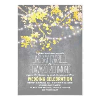 Gray yellow wedding invitation with string lights