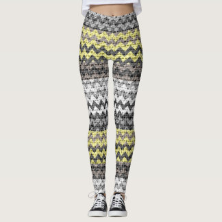 Gray Yellow White Chevron Pattern Burlap Look Leggings