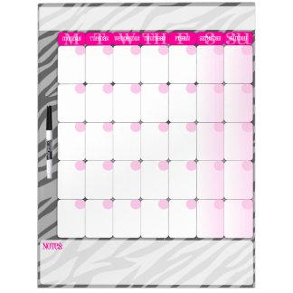Gray Zebra Print on Pink - Dry Erase Calendar Dry Erase Board