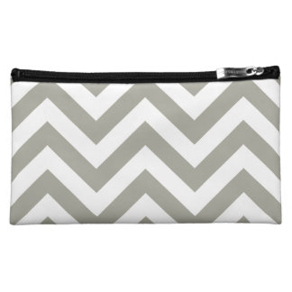 Gray Zigzag Chevrons Pattern Makeup Bag