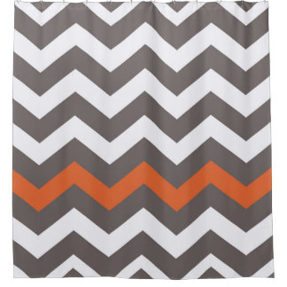 Gray Zigzags With Orange Accent Shower Curtain