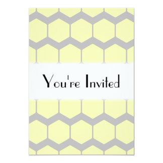 Gray Zigzags, Yellow Hexagons Pattern. Invite
